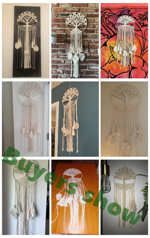 OHEART-atrapasueños de algodón bohemio con borlas, hilo de macramé, artesanía hecha a mano, colgante de pared, decoración para el hogar y el dormitorio, boda