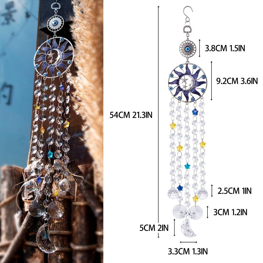 H & D-máquina de arcoíris para colgar en la pared, azul turco, mal de ojo, Luna, sol, estrella, atrapasueños, carillón de viento de cristal, regalo de decoración