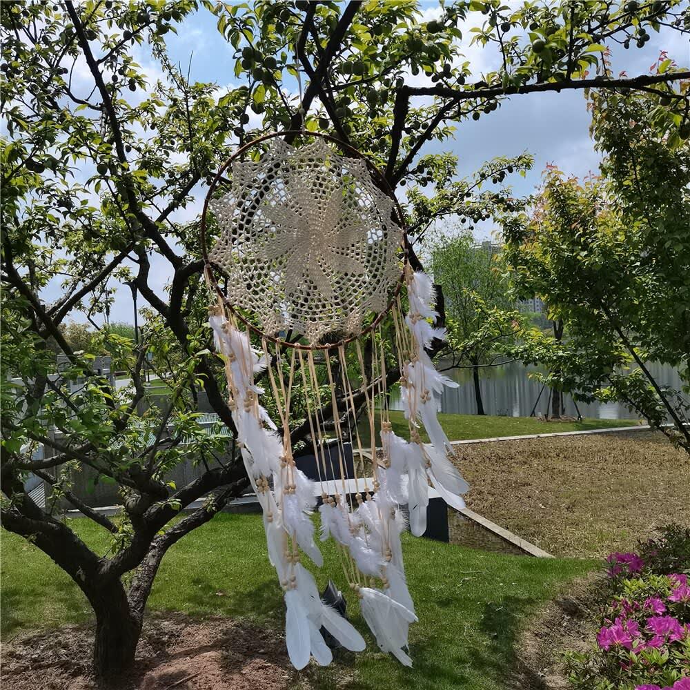 Atrapasueños redondo de algodón tejido a mano, colgante de macramé con armazón resistente perfecto para decoración del hogar, color Beige, 40CM
