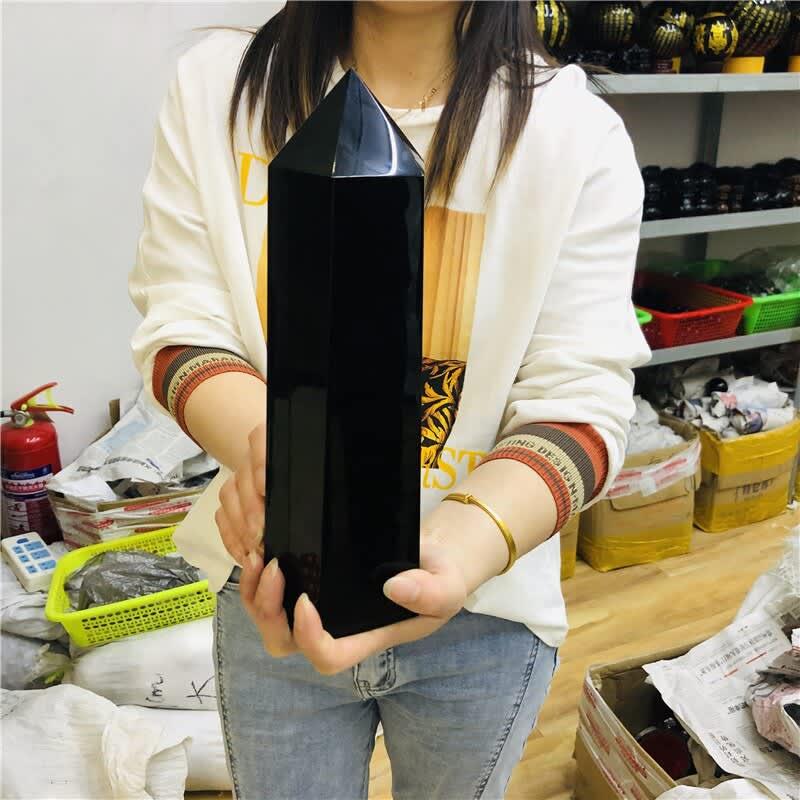 Obsidiana negra Natural de gran tamaño, obsidiana, Obelisco, punta de cristal de cuarzo mágica curativa, 25cm, 3000g
