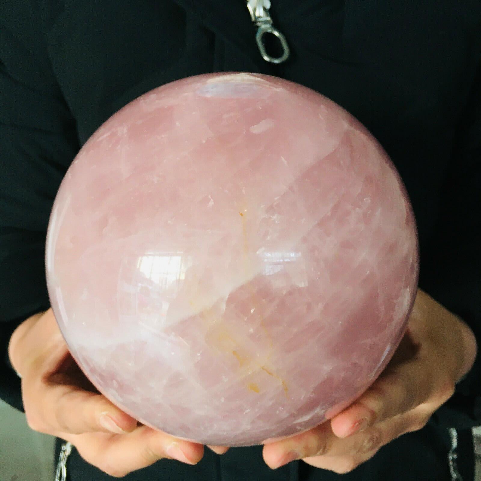 Bola de cuarzo rosa Natural, bola de cristal, Reiki, curación, Reiki, 4981g