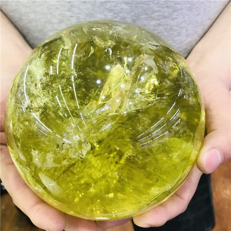 Bola curativa de cuarzo NATURAL, esfera de cristal, citrino