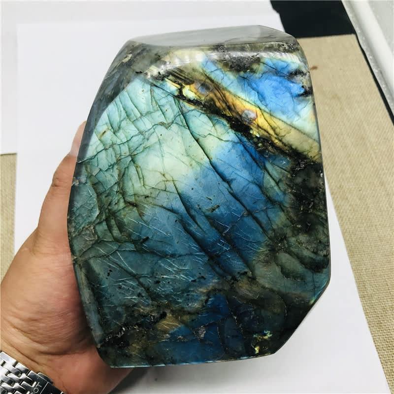 Piedra lunar de cristal Natural, adorno de piedras preciosas crudas, labradorita de cuarzo pulido, artesanía, decoración de piedra curativa