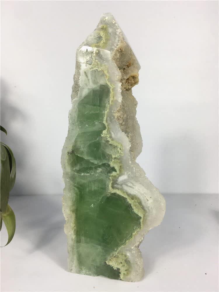 Torre de fluorita verde Natural, cristal de cuarzo crudo, piedras curativas, espécimen, artesanías para decoración del hogar para regalo, punto de varita