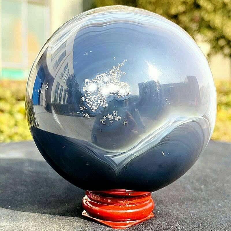 Bola de cristal Natural para curación de Reiki, cueva de ágata, cristal de cuarzo, energía