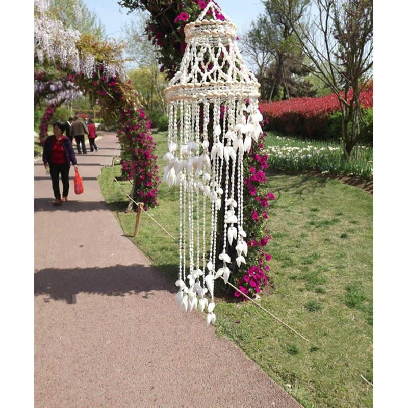 Atrapasueños colgante de concha de Coral Natural, carillones de viento para pared, decoración para habitación del hogar, blanco, 70cm