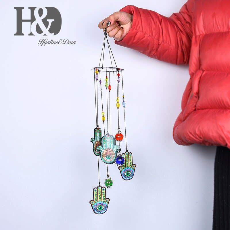 H & D-campanas de viento de mal de ojo de Turquía, atrapasueños, amuleto de colgante de pared para el hogar, Decoración, regalo de protección de bendición (azul)