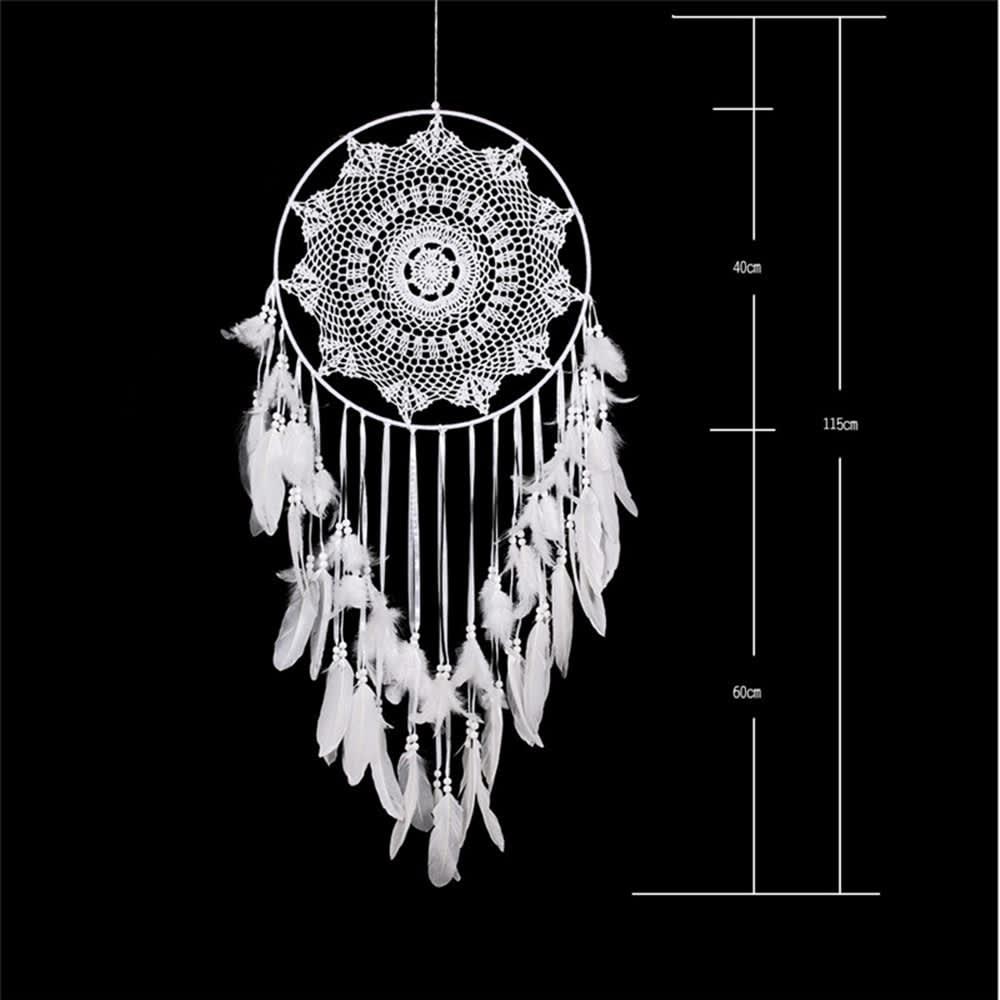 Atrapasueños grande blanco para decoraciones, Artesanía nativa india americana, telaraña protectora