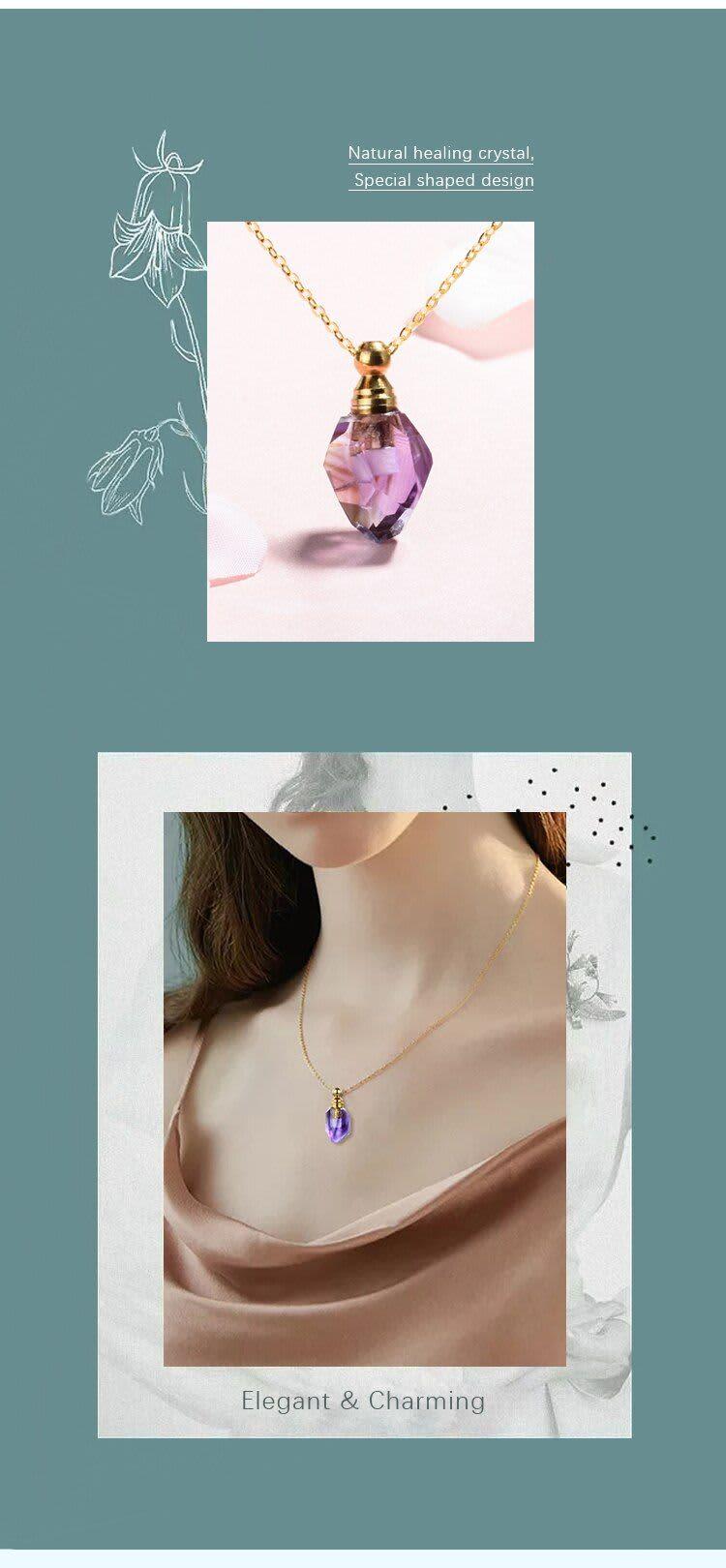 EUDORA-colgante o dije de piedra amatista púrpura Natural, colgante de cristal de cuarzo, difusor de aceite esencial, 5 uds.