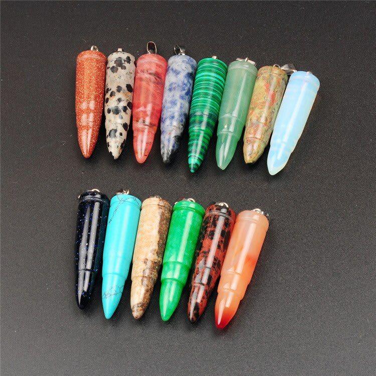 50 piezas al por mayor de joyería de piedra Natural con forma de bala colgante DIY para collar de pendiente gargantilla joyería que hace colgantes de piedra gema