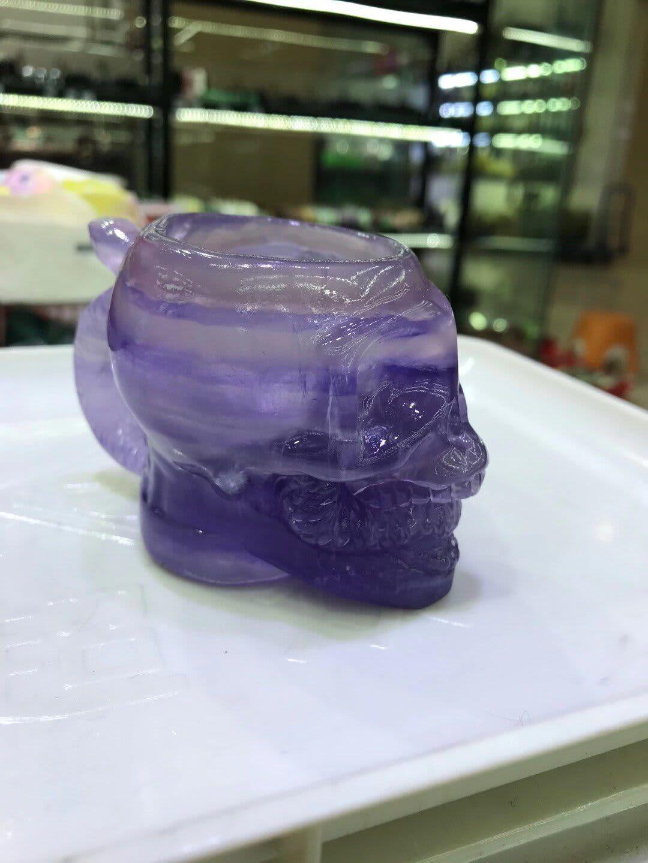 Vaso de fluorita de cristal Natural, estatua de cráneo, vasos creativos para fiesta, artículos para beber, Reiki de cuarzo, regalo decorativo para el hogar