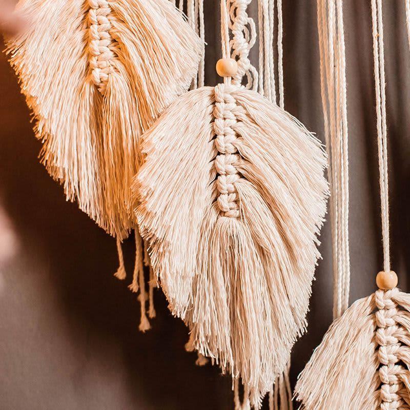 Atrapasueños de anillo de bambú, tapiz tejido de algodón, colgante de pared bohemio