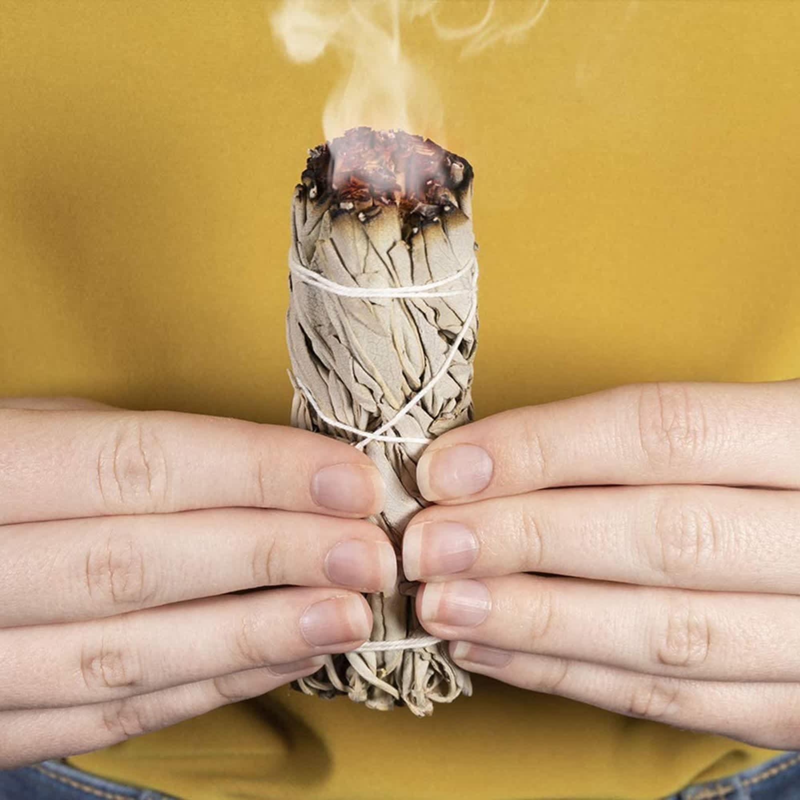 Mechones de salvia blanca para limpieza del hogar, palitos para difuminar, para sanar, para meditación y difuminar, con hojas puras ahumadas
