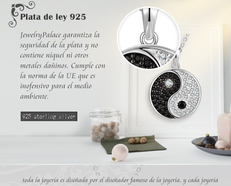 JewelryPalace-pendientes tipo botón de plata fina para mujer, pendientes de espinela negra auténtica de Tai Chi Yin Yang, con moneda redonda de piedras preciosas, 925