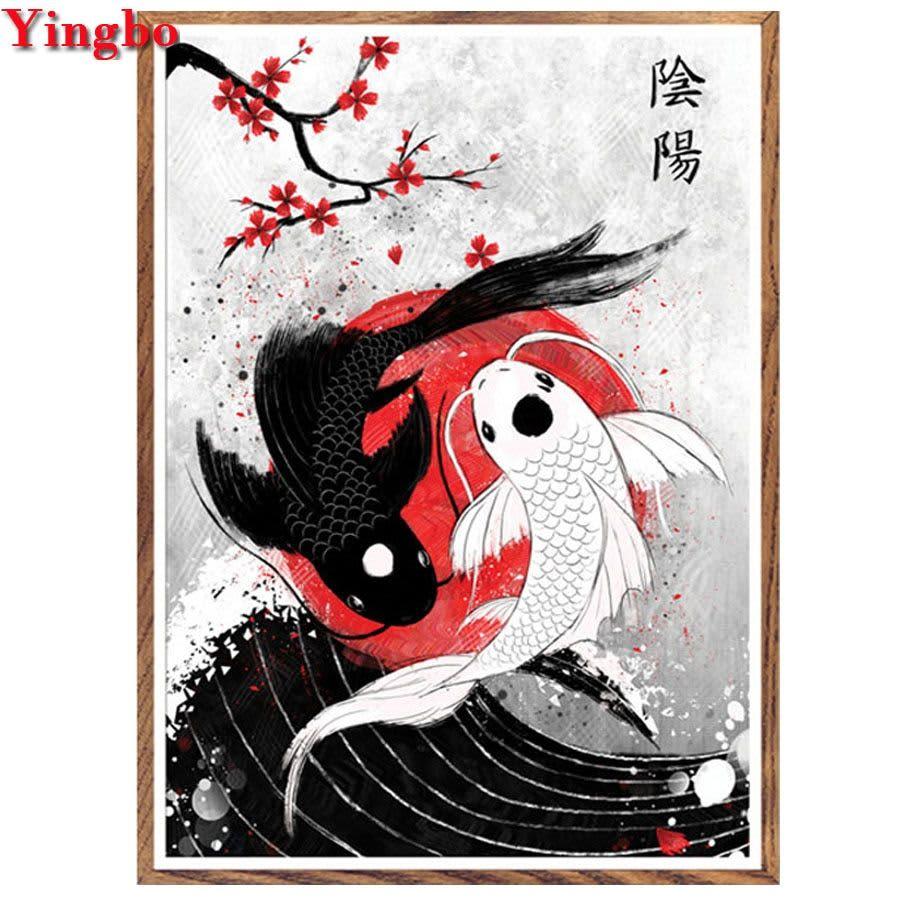 Pintura de diamante cuadrado/redondo 5d, cuadro de Yin Yang fish, manualidades con bordado de diamantes, mosaico de diamantes, punto de cruz, regalo de Año Nuevo