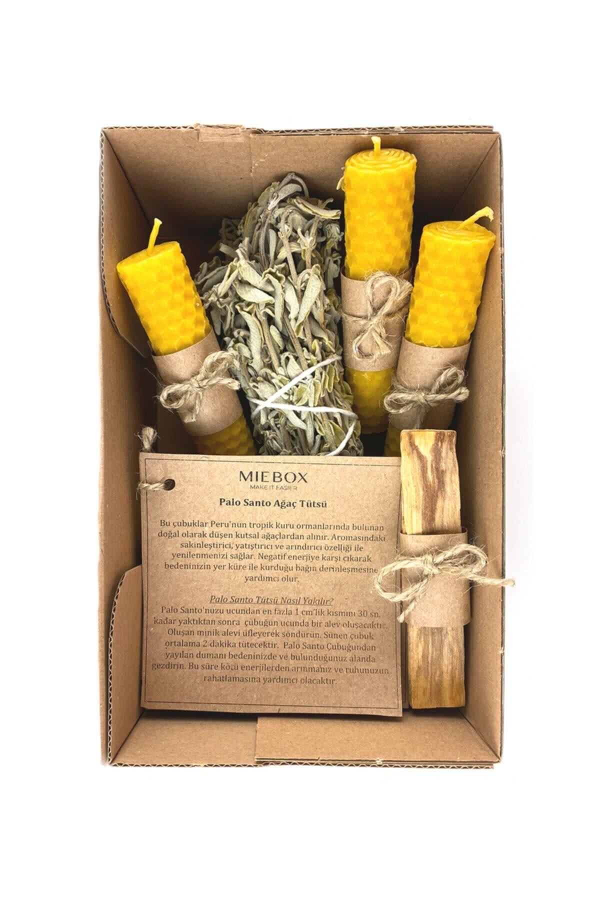 Juego de purificación de incienso Palo Santo 10, vela de cera de abeja, incienso Salvia 10