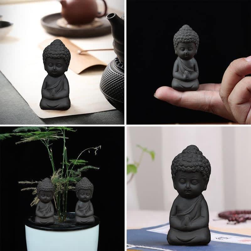 Estatua de Buda en miniatura para decoración del hogar, accesorios para minijardín, té, mascota, agua, jardín, meditación, estatua Zen