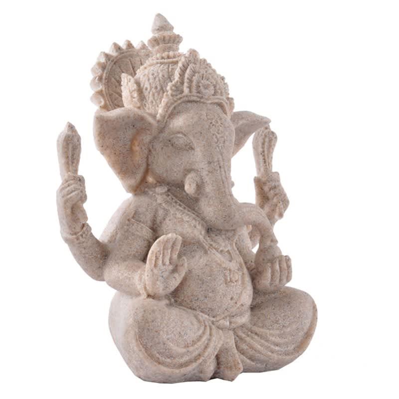 Estatua de Buda de bronce de Ganesha Ganapati Ganesh, artesanías, escultura de estatuilla de piedra arenisca, mesa de decoración tallada a mano