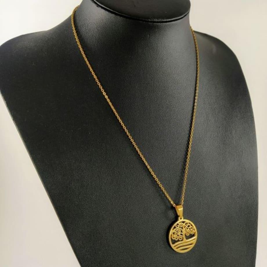 BDM - Conjunto de collar del arbol de la vida y pendientes a juego de moda para regalar mujer cadenilla