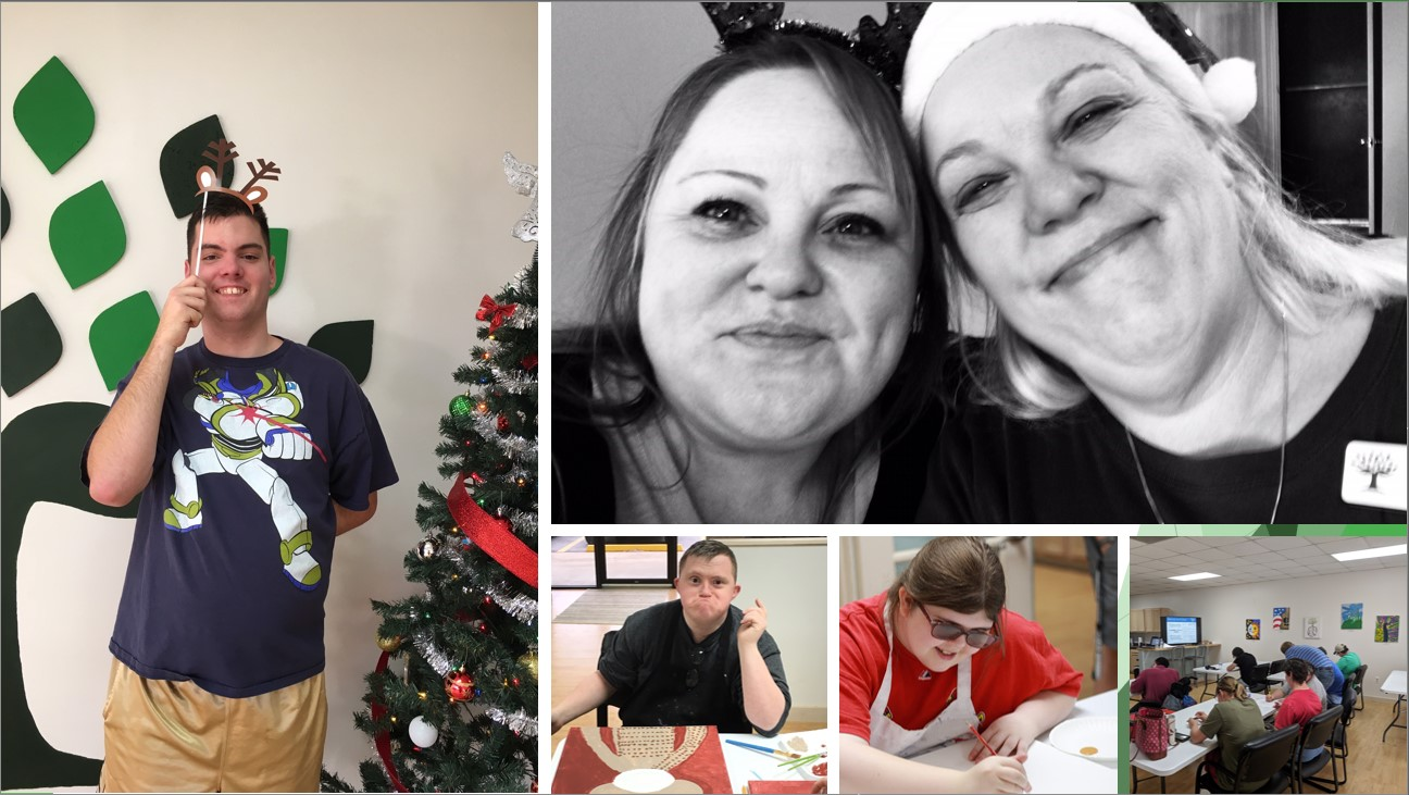 collage of individuals participating in wc partners events at christmas time and also in painting activities as well as two support coordinators