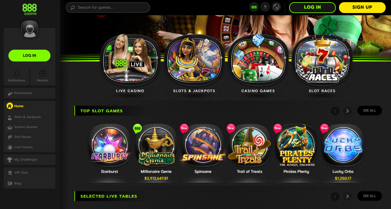 Game selection at 888 Casino