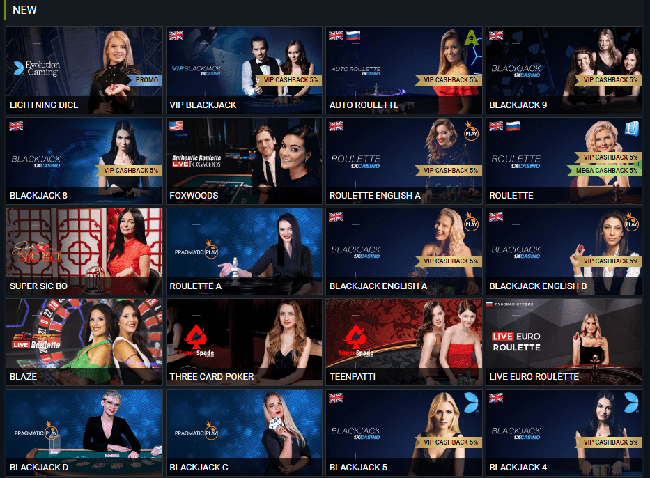1xBet live casino evolution gaming and languages