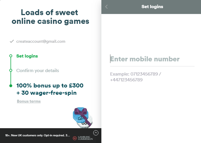 Casumo Casino account registration picture