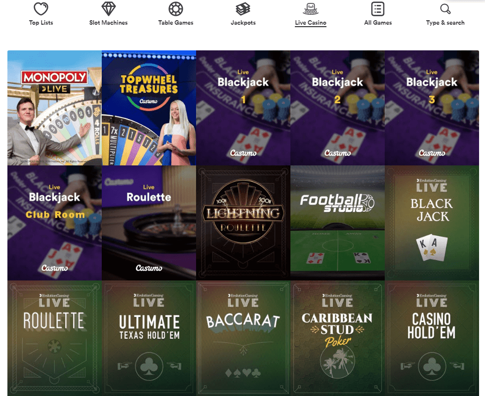 Casumo Casino Live Casino evolution gaming, NetEnt and more