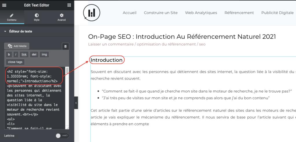 elementor les balises hn - référencement naturel sur WordPress
