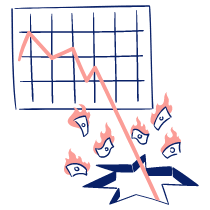 Business Graph Collapsing 3 illustration - Free transparent PNG, SVG. No Sign up needed.