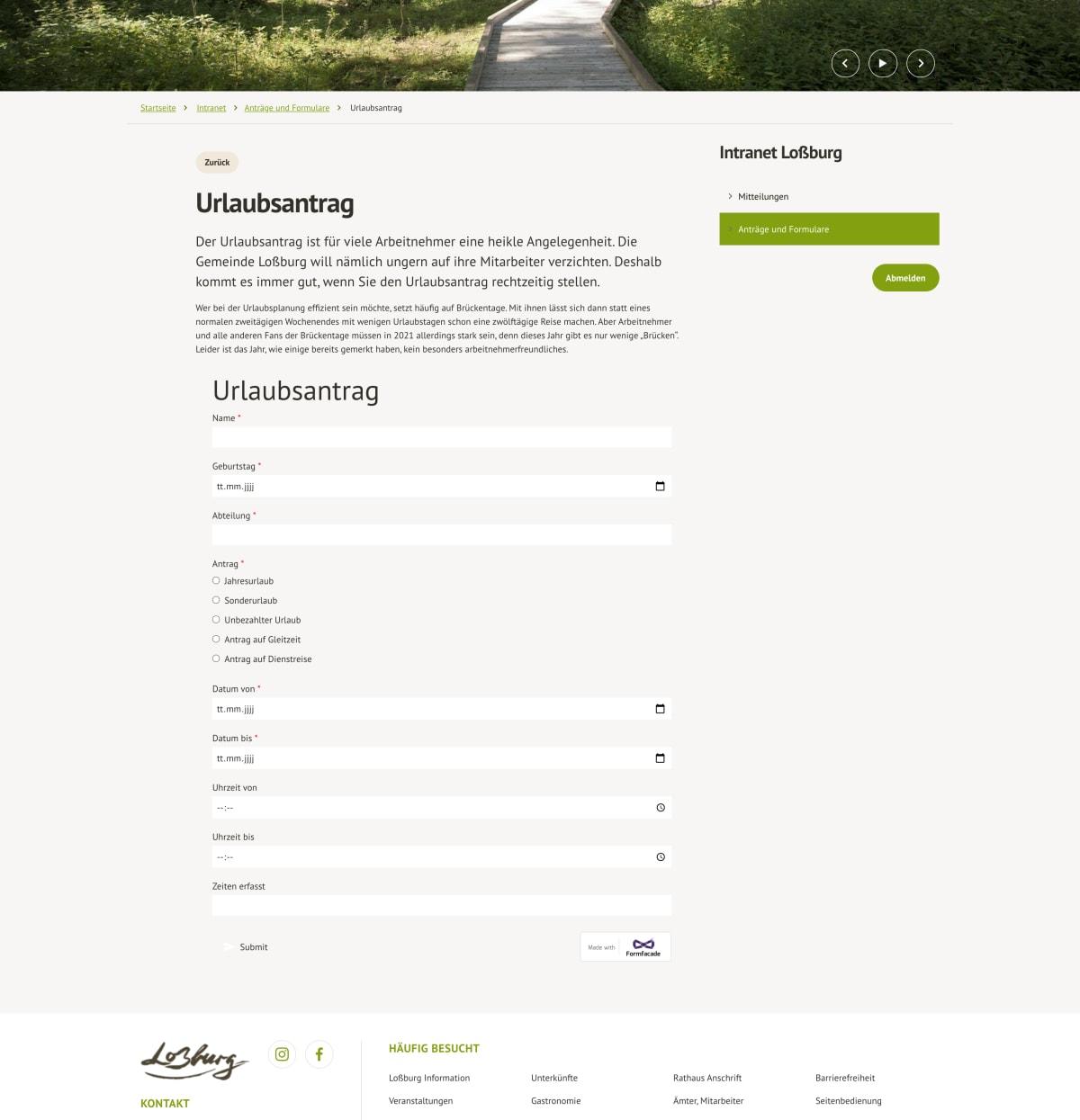 Screenshot Intranet Loßburg