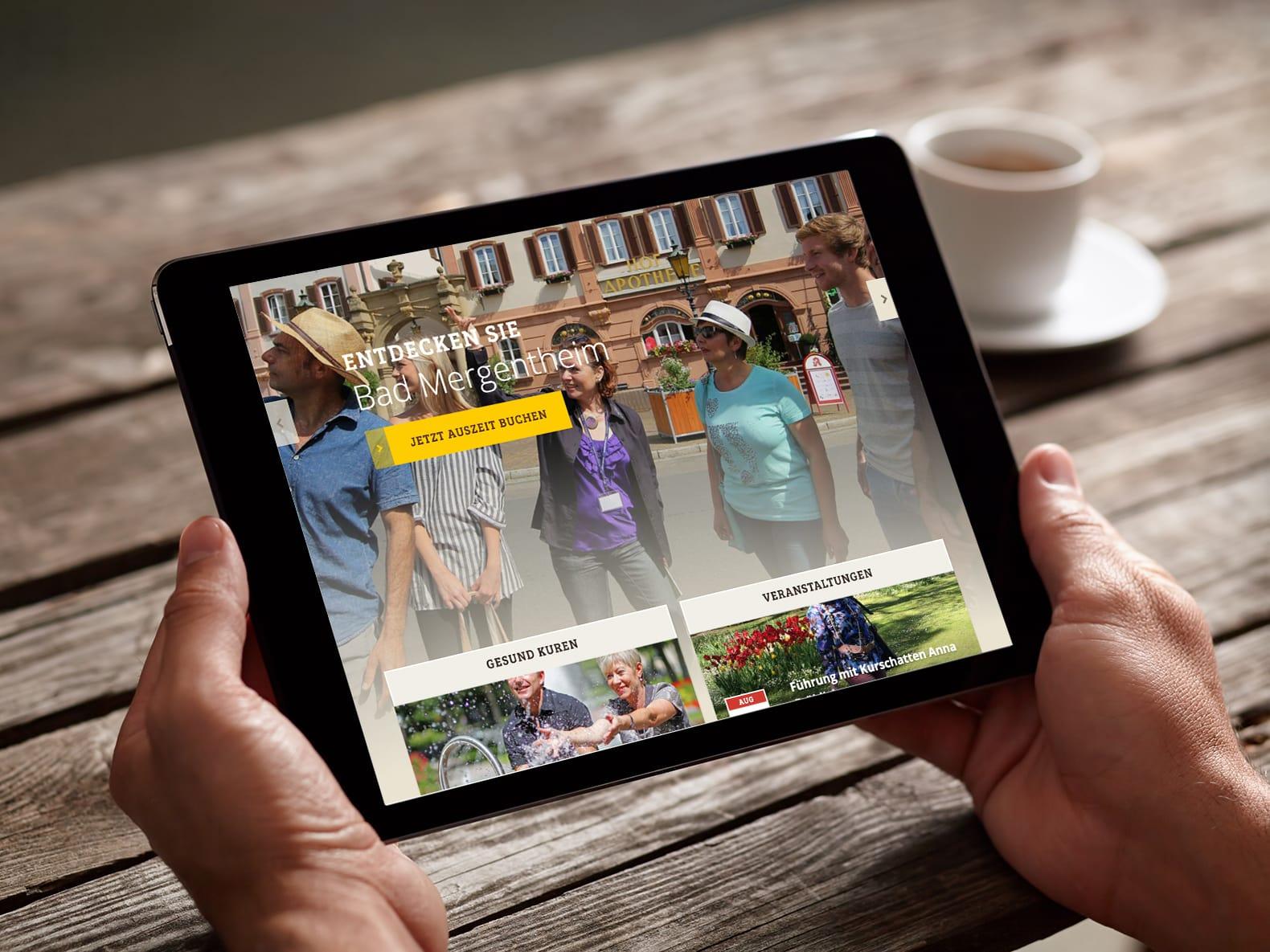 iPad mit geöffneter Website bad-mergentheim.de – Wie entstand die Website der Stadt Bad Mergentheim?