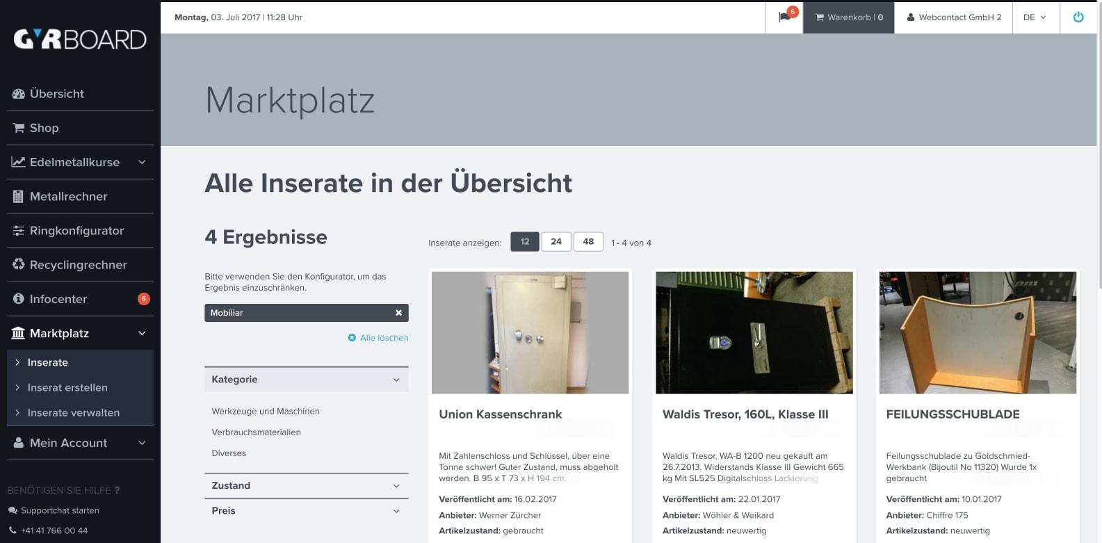 Screenshot Marktplatz GYRBOARD – Wie entstand das Kundenportal der GYR Edelmetalle AG?