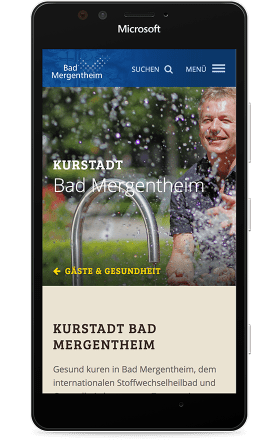 Screenshot bad-mergentheim.de auf einem MS Lumia 950