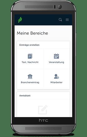 Screenshot CMS für Kommunen auf einem HTC One M8