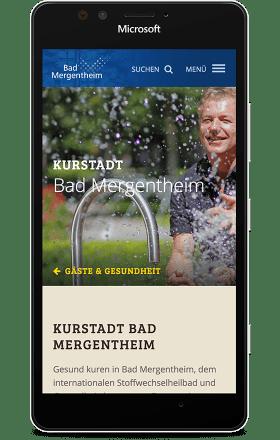 Screenshot bad-mergentheim.de auf einem MS Lumia 950