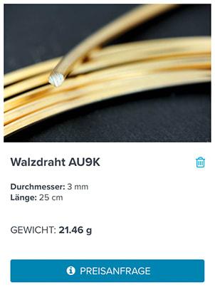 Screenshot Ergebnis Metallrechner GYRBOARD – Wie entstand das Kundenportal der GYR Edelmetalle AG?
