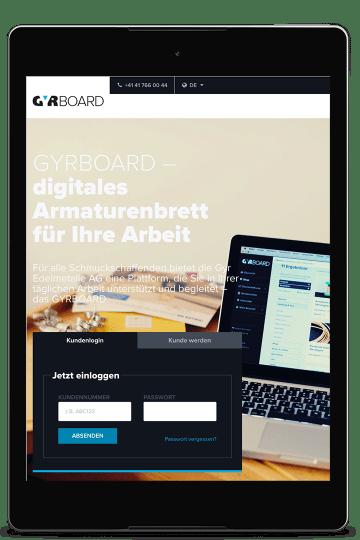 Screenshot gyr.ch auf einem Nexus 9
