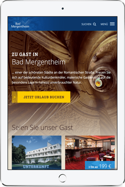 Screenshot bad-mergentheim.de auf einem iPad Air