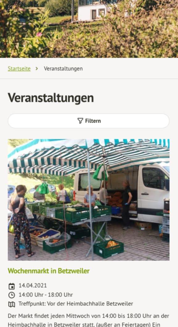 Screenshot der Webseite der Gemeinde Loßburg