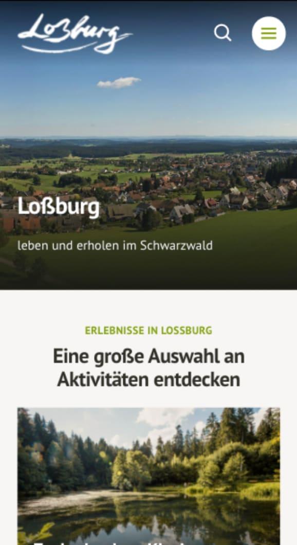 Screenshot der touristischen Website Loßburg
