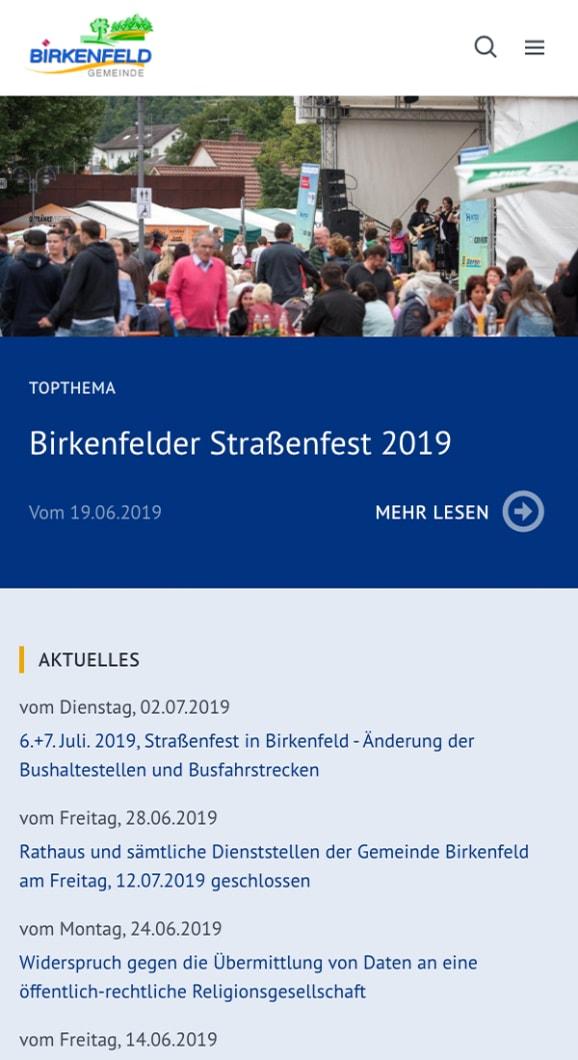 Screenshot Internetseite der Kommune Birkenfeld