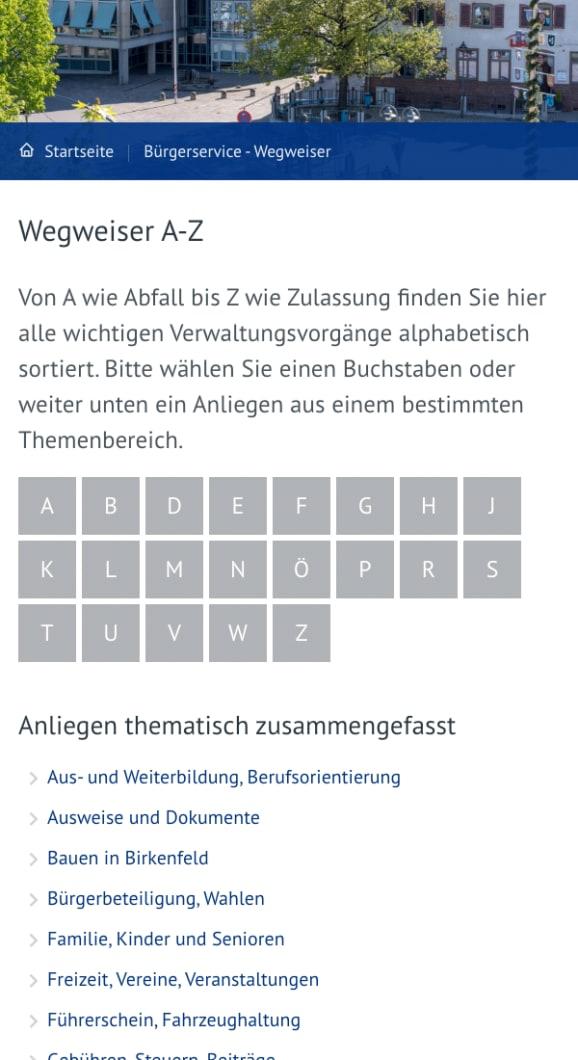Screenshot Website der Gemeinde Birkenfeld