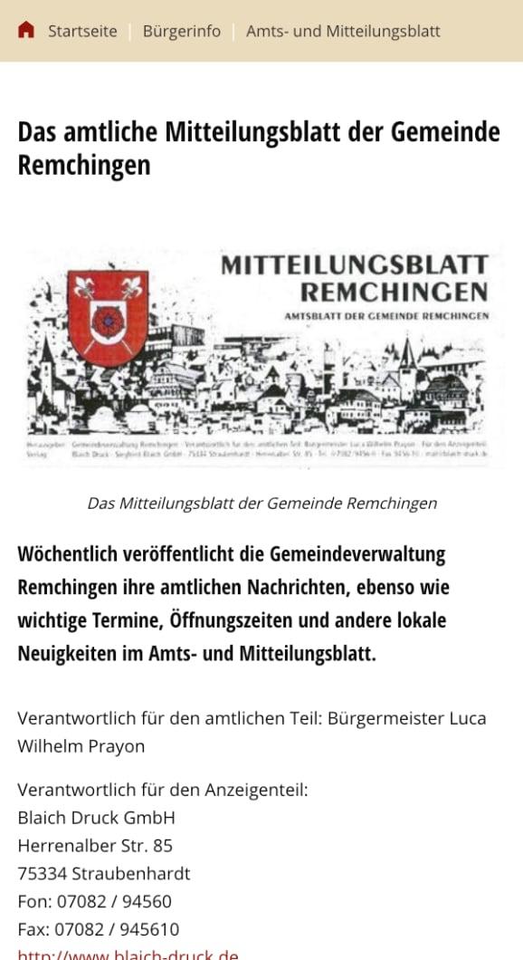 Screenshot Remchingen