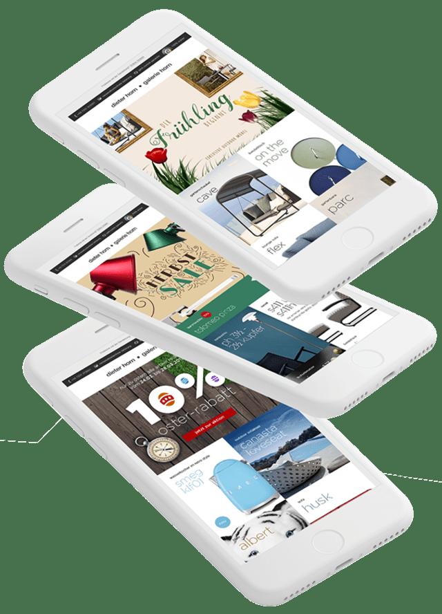 Mockups mit Newsletter – Designermöbel online kaufen. Im Shop dieter-horn.de