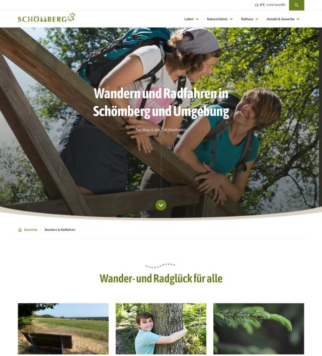Screenshot der Website der Gemeinde Schömberg