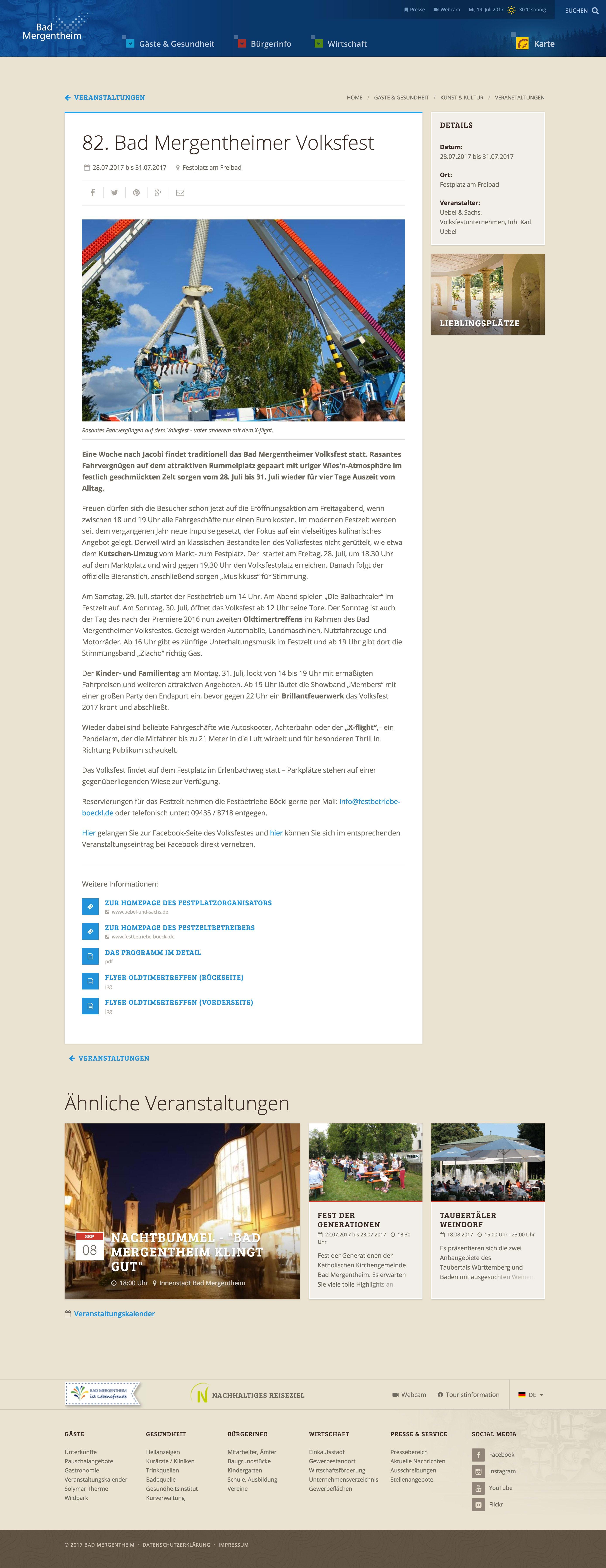 Screenshot Detailseite bad-mergentheim.de