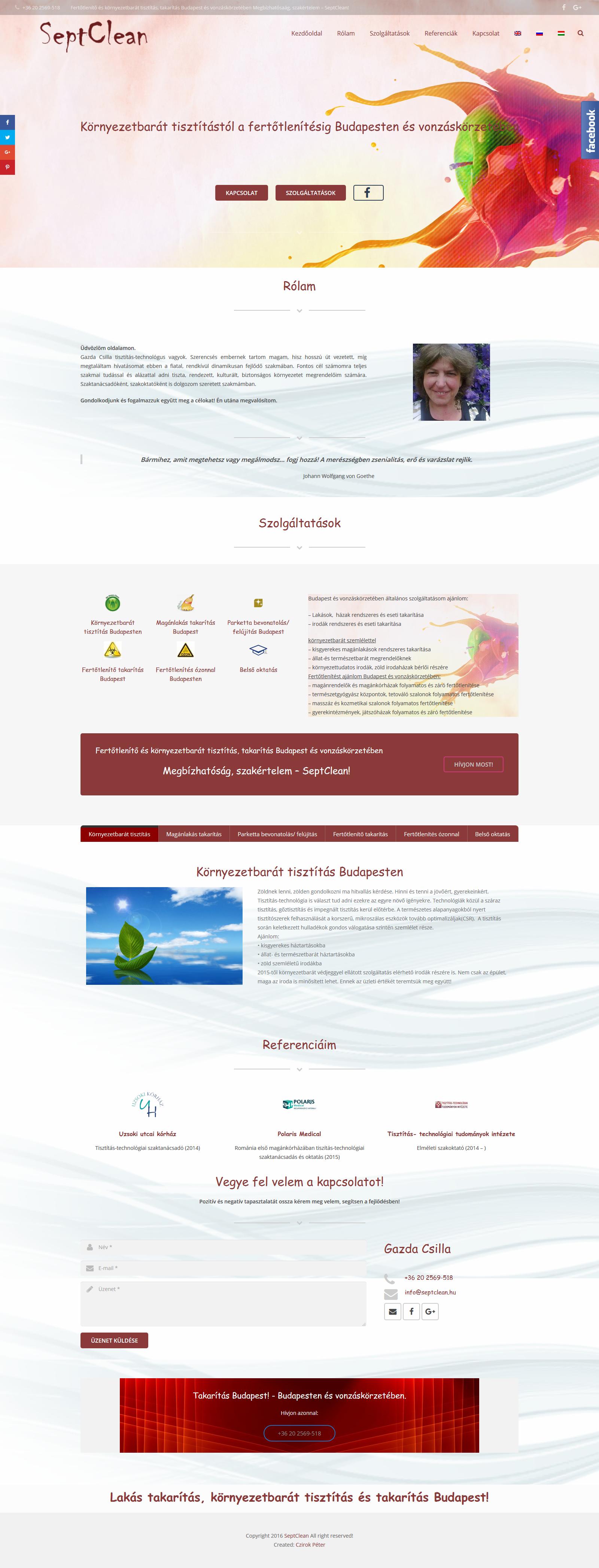 Septoclean weboldala - Septclean