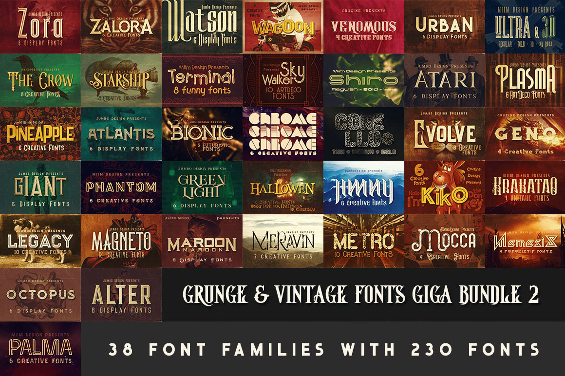 Grunge & Vintage Fonts Giga Bundle 2