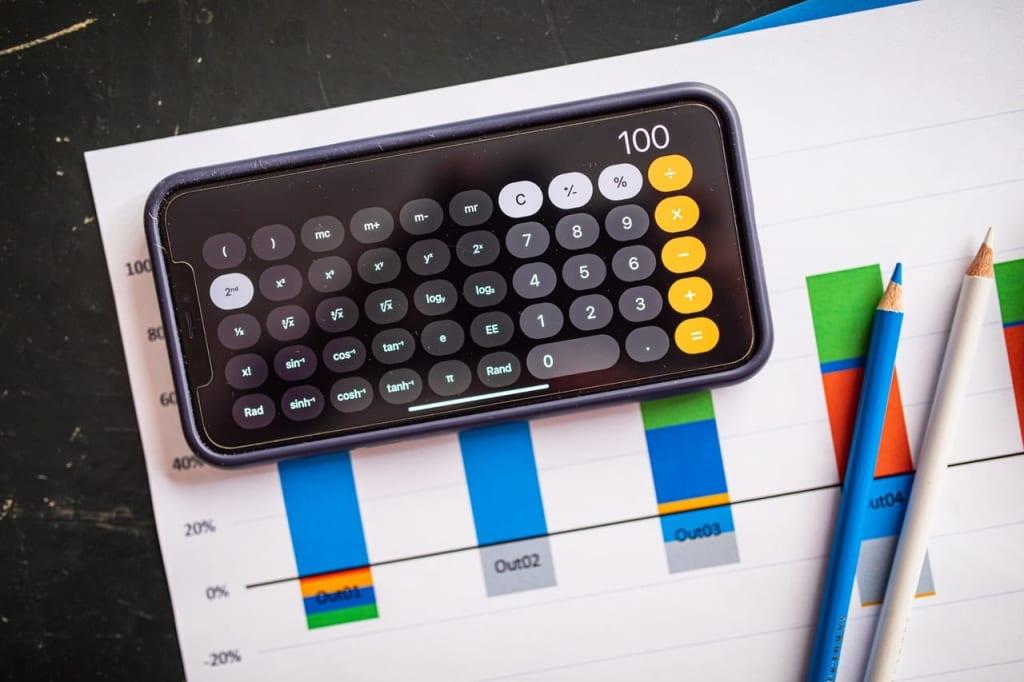 calculadora e um gráfico atrás para ilustrar o que é roi